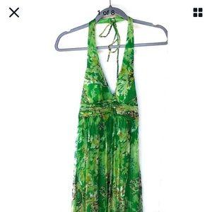 Sue Wong 100% Silk Dress Emerald Green Gold Halter